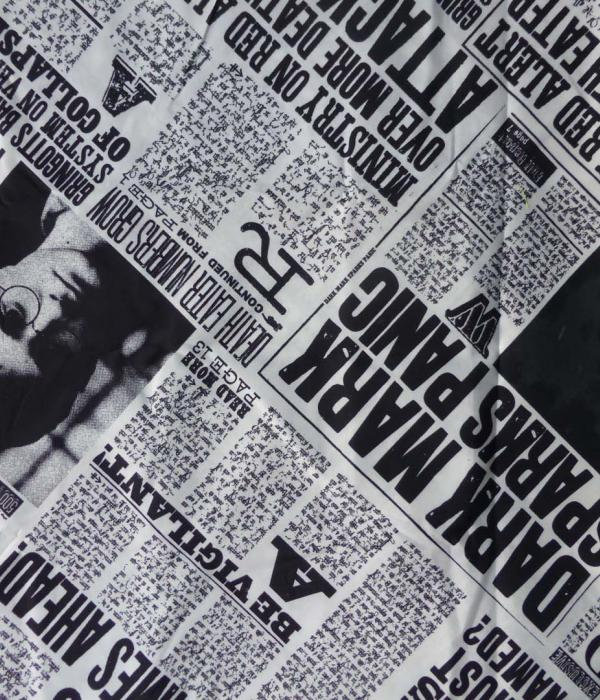 Harry Potter Daily Prophet fabric set out as a news paper article